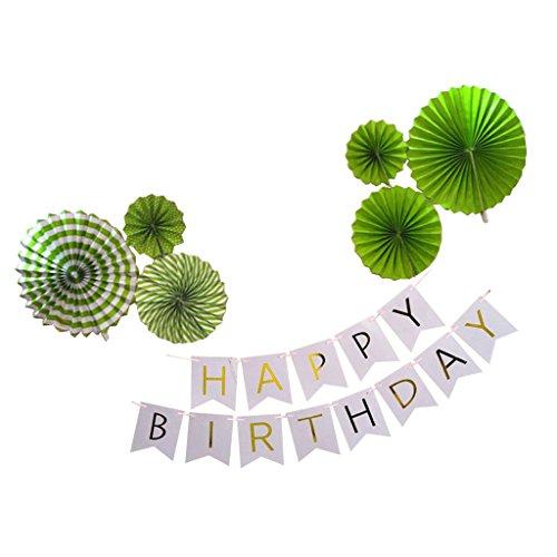 Sharplace Tissue Fächer, Wimpelkette Girlande, aus Papier, Set/7Stück, Geburtstag Party Deko - Grün, 7Stück/Set -