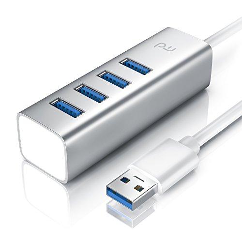 CSL - USB 3.0 Hub | 4 Port Hub Verteiler | bis zu 5 Gbit/s | Plug & Play | Hot Plug | Windows Linux und Mac | abwärtskompatibel | Silber Alucase