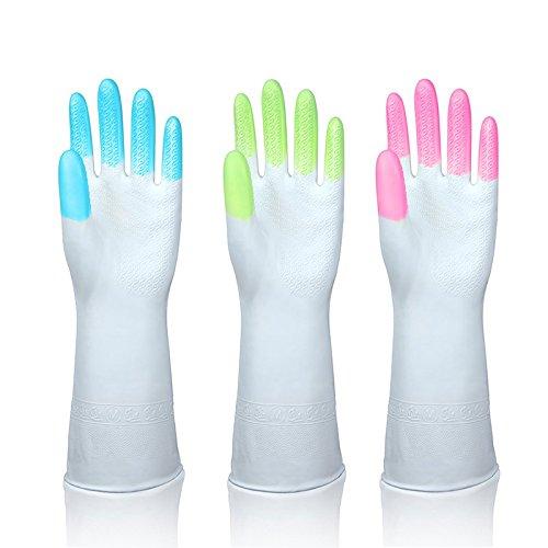 Gummi Latex Reinigung Handschuhe Küche Wasserdichte Haushaltshandschuh Gummi Handschuhe - Küche, Putzen, Spülen, Wäsche (Größe L/3 Paar/Blau+Grün+Rosa)