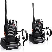 Proster Walkie Talkie Recargable 16 Canales UHF 400-470MHz CTCSS DCS Talkie walkie con el Auricular Incorporado Antorcha de LED y Cargador USB (2 PCS)