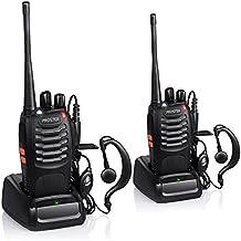 Proster Walkie Talkie Recargable 16 Canales CTCSS DCS Talkie walkie con el Auricular Incorporado Antorcha de
