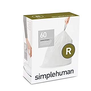 simplehuman Code R, Custom Fit Bin Liners, 60 Liners, White, 10 L