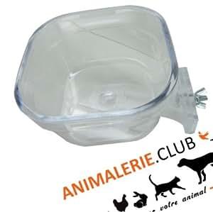 Mangeoire transparente clipsable pour grandes perruches et petits perr