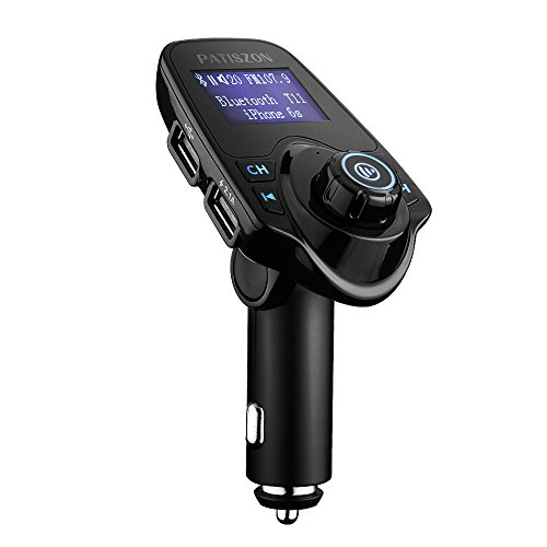 Patiszon Bluetooth FM Transmitter KFZ Auto Radio Adapter freisprecheinrichtung Car Kit integriertem mit 2 USB Ladegerät 3.5 mm AUX TF-Karten-Slot für iPhone Samsung iPad HTC Usw Iphone Auto-lautsprecher-adapter