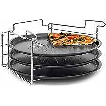 Relaxdays 3 Plaques de pizza + support en acier inoxydable revêtement antiadhésif Ø 33 cm Plats allant au four Moules à pizza, gris