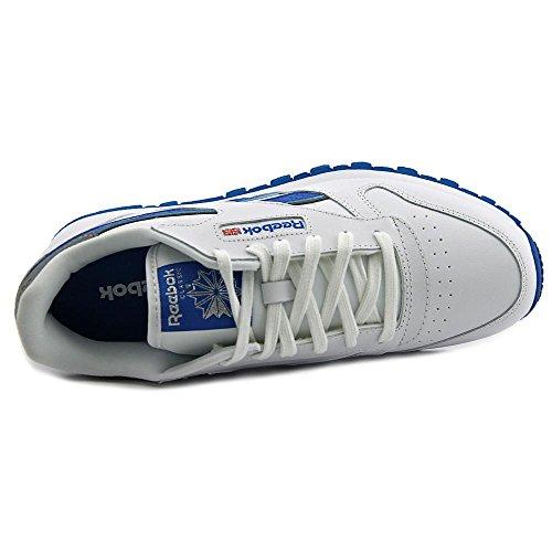 Reebok Classic Leather Reflect Cuir Chaussure de Tennis White-Blue Sport-Slvr Met