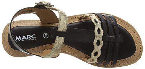 Marc Shoes - Mimi, Scarpe col tacco con cinturino a T Donna Nero (Schwarz (black-combi 101))