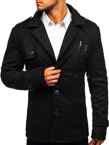 BOLF Herren Wintermantel Mantel mit Revers-Kragen eleganter Look Coat J.Style 3135 Schwarz L [4D4]
