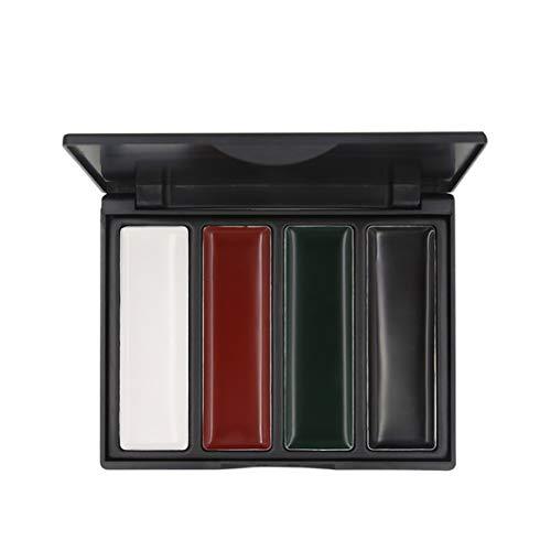 Popfeel 4 colores Pintura de la cara Paleta de pintura de aceite de camuflaje al aire libre para fanático del ejército Militar CS Play Pintura al óleo maquillaje - 4 colores