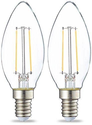 AmazonBasics Petite ampoule bougie LED E14 B35 avec culot à vis, 2W (équivalent ampoule incandescente de 25W), transparent avec filament - Lot de 2