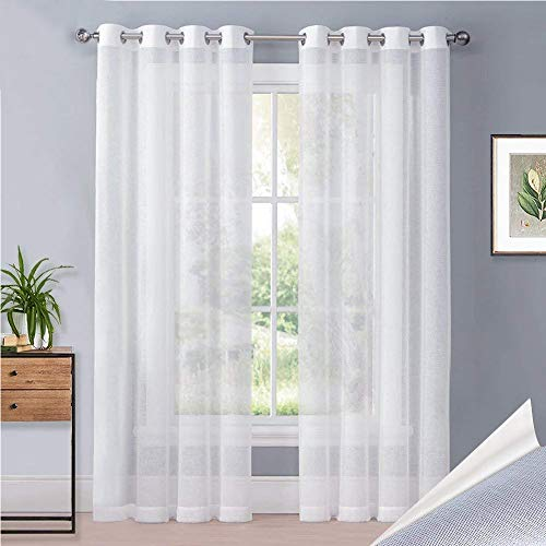 PONY DANCE Voile Vorhang mit Ösen - Weiß Halbtransparent Voile Vorhänge Gaze Fensterdeko Leinen Optik Dekoschale für Wohnzimmer Büro, 2er Set H 245 x B 140 cm