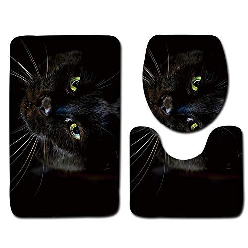 WWDDVH Hd Katze Gedruckt Badezimmer Teppich Set 3 Stücke Wc Matten Rutschfeste Badematten Bad Teppich Waschbar Wc Teppiche Set Deckel Abdeckung-Katze Qi