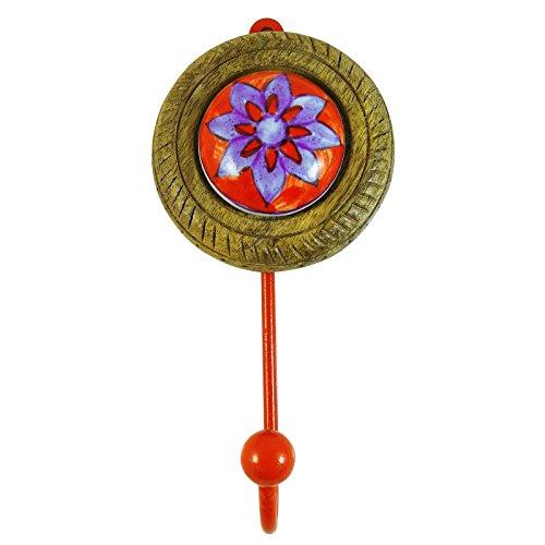Rot Ethnische Startseite Wandhaken Keramik Kleiderbügel Hardware Metall Keramik 1 Haken (Gold Aufhänger Metall Ornament)