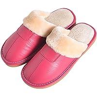 BESTOYARD Zapatillas de Cuero de Invierno Forro de Piel sintética Zapatilla de Felpa Pareja Casa Algodón Interior (Rosy)