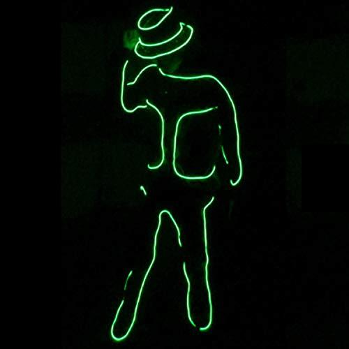 Xmas Dance Kostüm - WSXX Mode Neon kaltes Licht, Neon EL Draht, LED-Streifen, Fluoreszierende Tanzshow Kostüm, für Xmas Party Pub Festival Dekoration Dance Party A