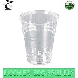 Palucart 300 Bicchieri Biodegradabili 200 ml RIGIDI CRISTALL compostabili PLA Tazza monouso Acqua bibite rispetta la…