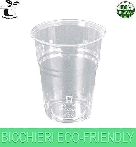 Palucart 300 bicchieri biodegradabili 200 ml rigidi cristall compostabili pla tazza monouso acqua bibite rispetta la natura