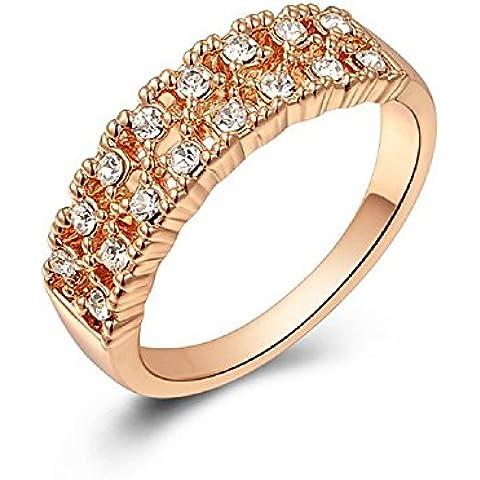 Bling fashion anello placcato in oro rosa 18K con cristalli austriaci doppio strati diamanti