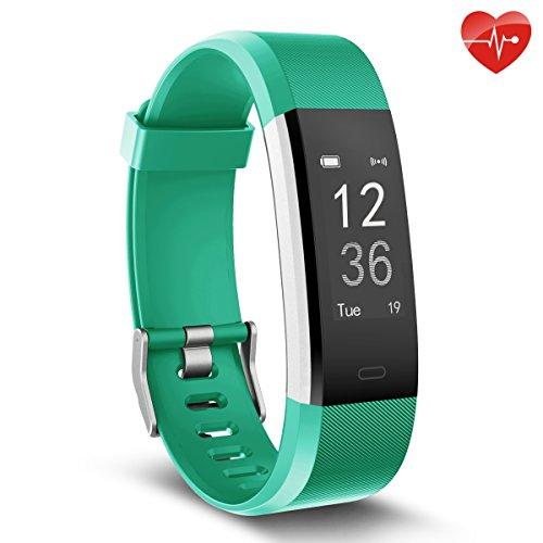Herzfrequenz-Monitor, moreFit Slim HR Plus wasserdicht Fitness Aktivitäts-Tracker tragbares Smart Armband, Grün (Leder Mitte Grün)