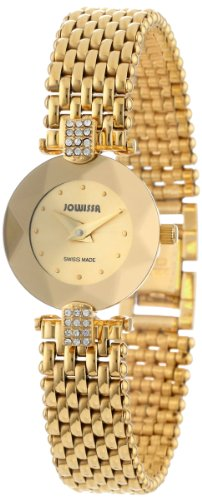 Jowissa Facet Strass Women's Quartz Watch with Gold Dial Analogue Display and Gold Stainless Steel Bracelet J5.010.S