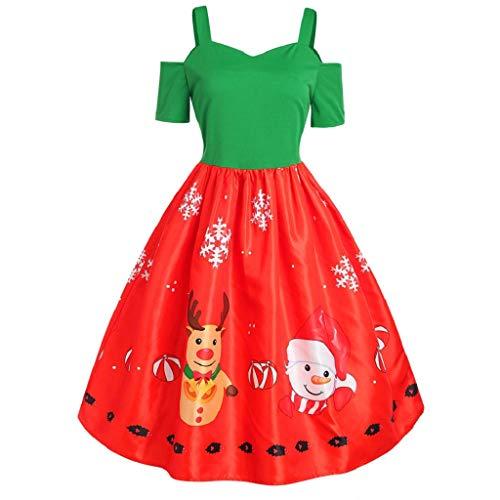 (Luckycat Damen Rentier Print Kurzarm Camisole HosenträGer Party Swing Kleid Abendkleider Cocktailkleid Partykleider Blusenkleid Mode 2018)