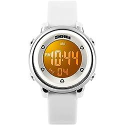 BesWLZ Digital Watch Outdoor Sports Kids LED Alarm Stopwatch Children's Jelly Wristwatches White