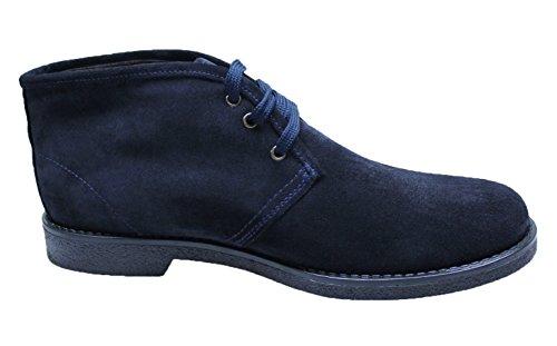 Evoga scarpe polacchini uomo blu scuro 100% made in italy casual eleganti (42)