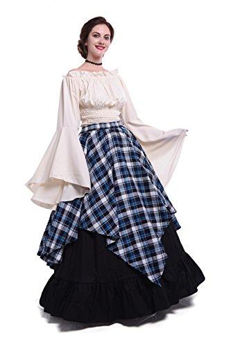 Damen mittelalterliche viktorianischen Schulter Vintage Kleid Königin Kostüm Top und (Kostüme Viktorianische Themen Halloween)