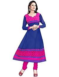 JHEENU Women's Georgette Dress Material (LSROYAL05_Free Size_Royal Blue)