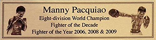 Manny Pacquiao Oro Targa Di Metallo Targhetta Per Autografato Guantoni Da Boxe o Boxer - Autografato Metallo