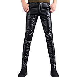Zhuhaitf Cuero de PU Motorcycle Casual Pantalones Thick Plus Velvet Thermal Trousers Hombre Slim Fit Waterproof & Windproof