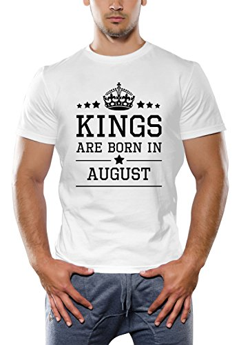 Kings Are Born In August White T-Shirt | Birthday Gift For Men, Boys, Father, Husband, Brother, Boyfriend, Him