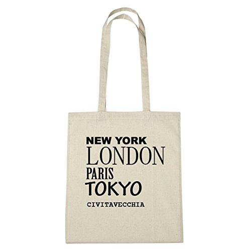 JOllify Civitavecchia di cotone felpato B3428 schwarz: New York, London, Paris, Tokyo natur: New York, London, Paris, Tokyo