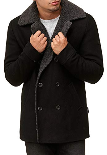 Indicode Herren Basire Winter Wollmantel Jacke Mantel Black S - 3
