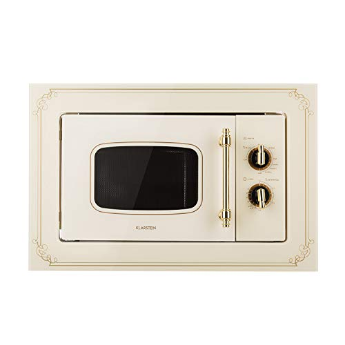 Klarstein Victoria 20 • Microondas • Diseño retro • 20 litros • Microondas de 800 W/Función grill de 1000 W • 3 funciones predeterminadas • Acero inoxidable • Incluye marco para montaje • Negro