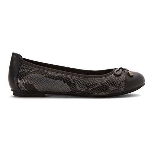 Vionic Womens 359 Minna Leather Shoes Grey Snake