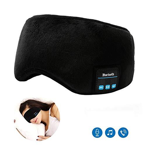 Schlafmaske Kopfhörer Bluetooth - Musik Schlaf Augen Abdeckung,Ultrathin Lautsprecher, Super Komfortable,Stereo Augen Maske Headset Waschbar für Reise und Schlafen(Schwarz) -