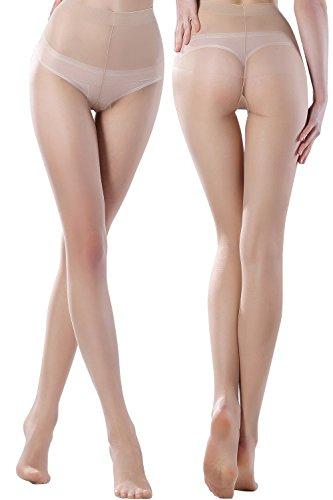 Damen Strumpfhose 10 Den Feinstrumpfhose Strümpfe Stützstrumpfhose Dicht Super Dünn ,Hell Hautfarbe,Large/X-Large