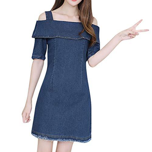 WooCo Sommerkleid Damen Schulterfrei Kurzarm Sexy Strandkleid mit Reißverschluss - Frauen Tshirt Kleider V-Ausschnitt Umlegekragen Größere Größe Knielang Kleid - Damen Kleider(Blau,M)