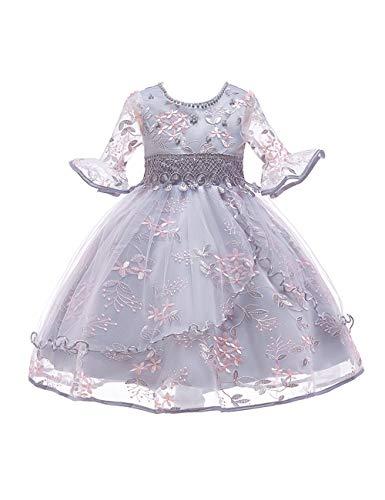 besbomig Kinder Party Outfit Bestickt Blume Trompete Armband Ärmel Prinzessin Kleider für Mädchen 3-8 Jahre alt