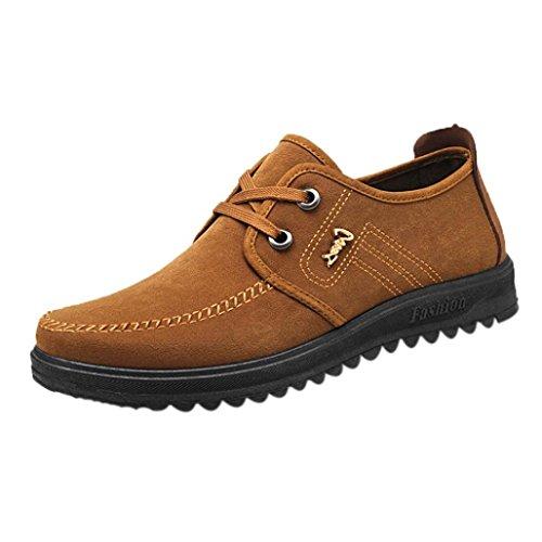 Overdose-Chaussures Homme Chaussures Bateau en Daim, Habillées à Lacets Marron Soldes Casual Flat