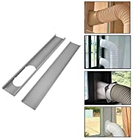 TOPAUP Window Slide Kit 2pcs 130cm Adjustable Plate Air Conditioner Wind Shield Exhaust Hose Connector for Portable Air Conditioner