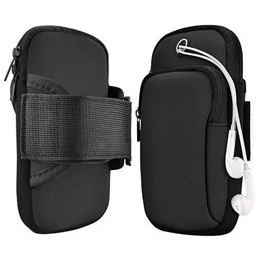 Sportarmband, leaptech multifunktionalen Taschen Workout Running wasserdichte Arm Tasche mit Kopfhörer Loch für iPhone X/8/8Plus/7Plus/7/6S Samsung Galaxy S9/S9Plus/S8/S8Plus/Note 8, schwarz -