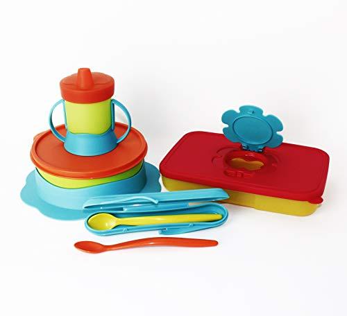 TUPPERWARE Tuppercare Baby Teller+2x Löffel (Limette+orange) + Löffelbox +Trinkflasche+Feuchttücherbox