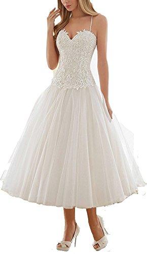 YASIOU Hochzeitskleid Kurz Weiß Standesamt Damen A Linie Tüll Spitze Herzausschnitt Elfenbein...