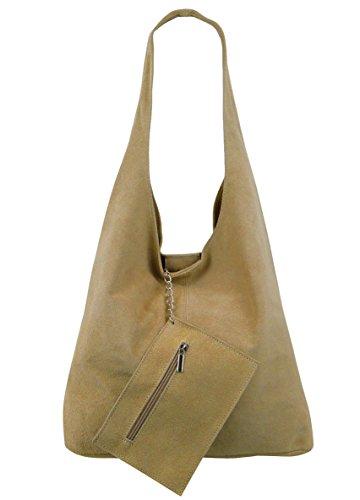 cc5ff190d1f01 Damen Ledertasche Shopper Wildleder Handtasche Schultertasche Beuteltasche  Metallic look Sand