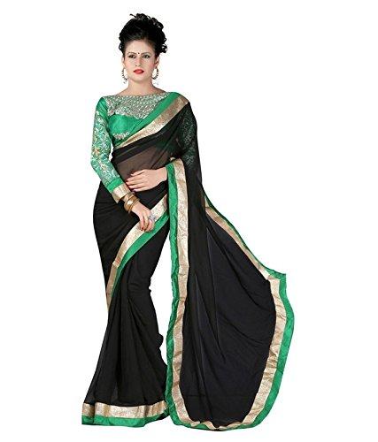 SUNSHINE Dark Black Color Georgette Fabric Embroidery Saree ( New Arrival Latest...