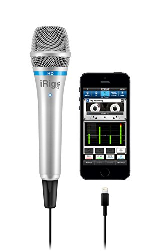 IK Multimedia iRig Mic HD Microfono Digitale Portatile per iPhone, iPad, Mac e PC, Argento