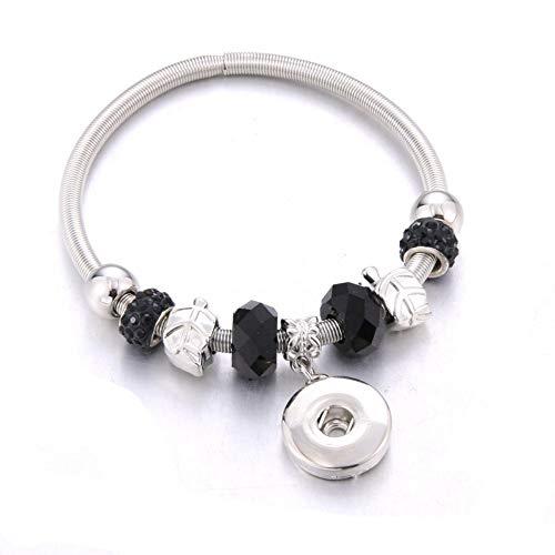 ZKZDSL Armband,Elastizität Druckknopf Armband Perlen Snap Armband Fit Snap Buttons Schmuck Naturstein Perlen Schwarz (Perlen-snap Button Armbänder)