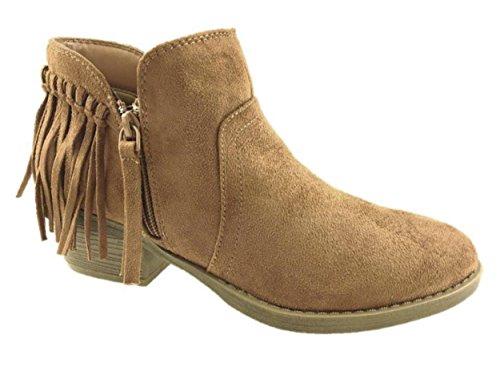 ladies-faux-suede-cowboy-ankle-boots-chestnut-fringe-detail-size-4-9-6